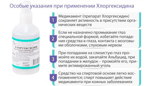 Особые указания к Хлоргексидину