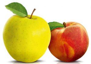 Сочетание персиков и яблок