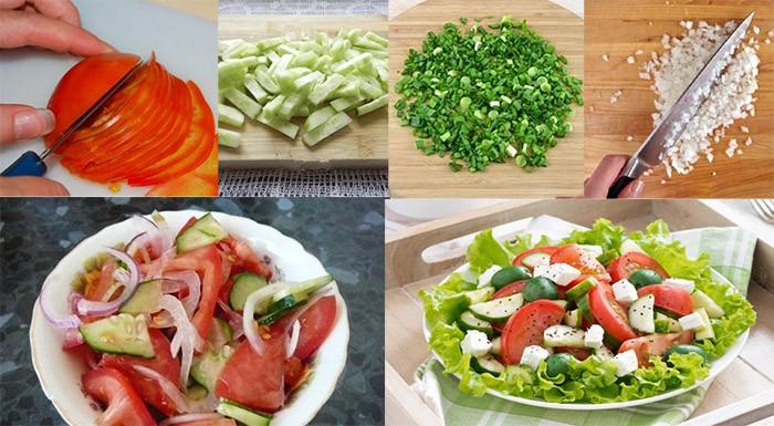 Приготовление салата из свежих помидор
