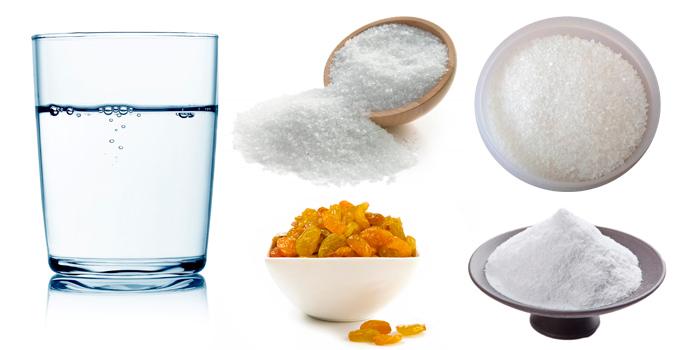 Вода, соль, сахар, сода, изюм