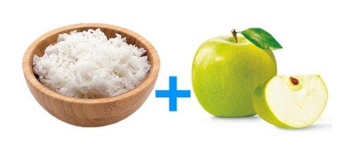Рис и зеленые яблоки