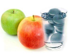 Яблоки и активированный уголь