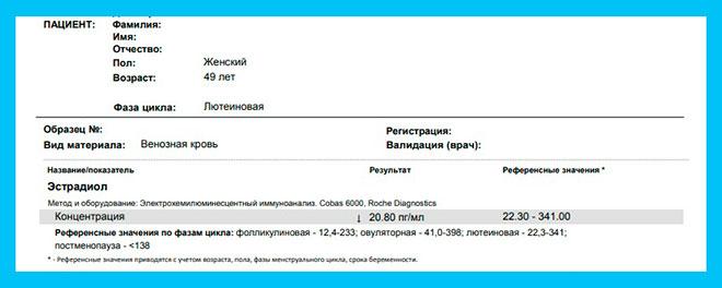 скриншот результатов анализа на эстрадиол у женщины