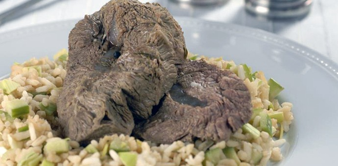 Вареное мясо с рисом