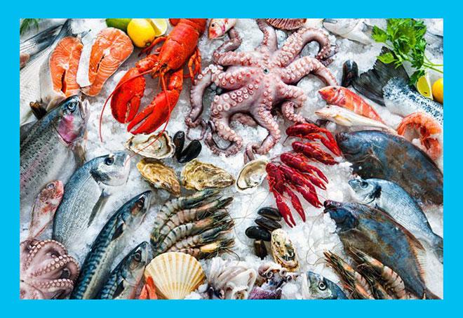 морепродукты на льду