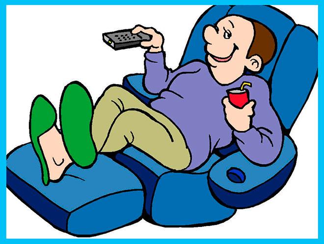 мультяшный мужчина лежит на кресле с пультом от телевизора и банкой газировки
