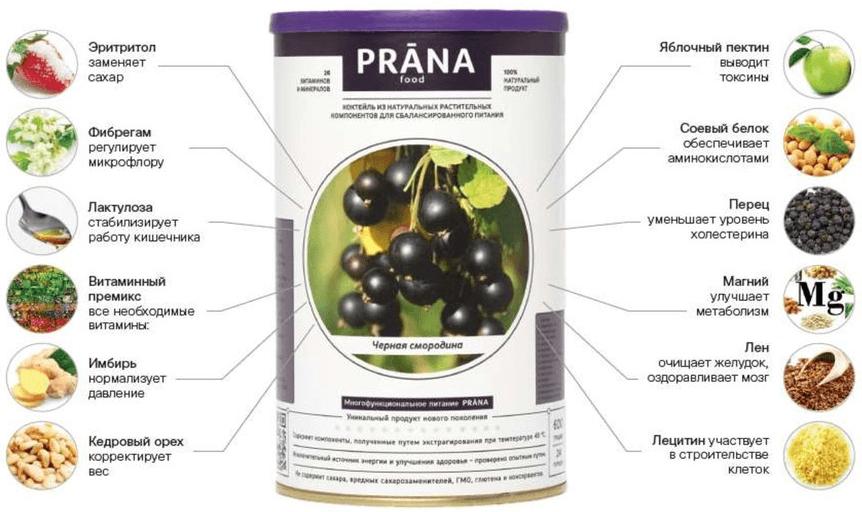 Состав коктейля Prana Food