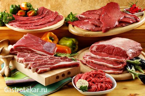 Баранина, свинина, говядина и другие мясные продукты при язве