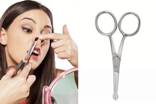 Удаление волос из носа ножницами
