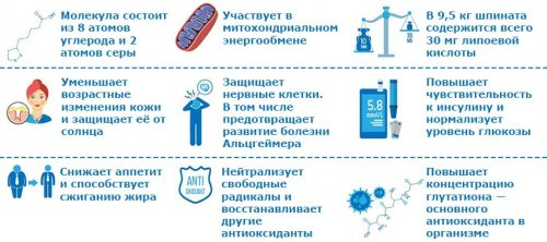 Свойства альфа–липоевой кислоты