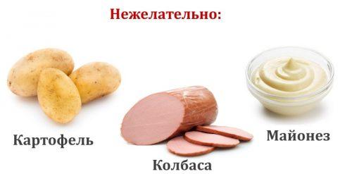 Нежелательные продукты для диетической окрошки