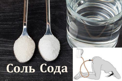 Раствор соли и соды для очищения прямой кишки