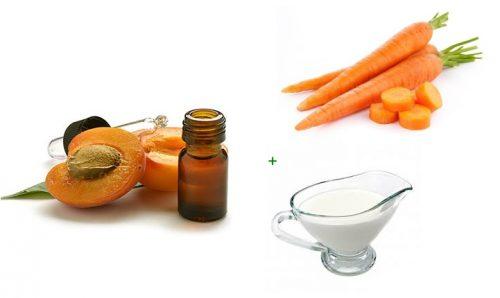 Ингредиенты с маской из масла из абрикосовых косточек