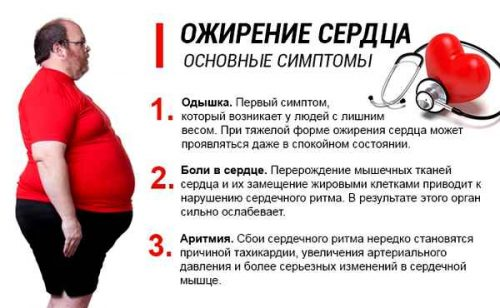 Основные признаки ожирения сердца