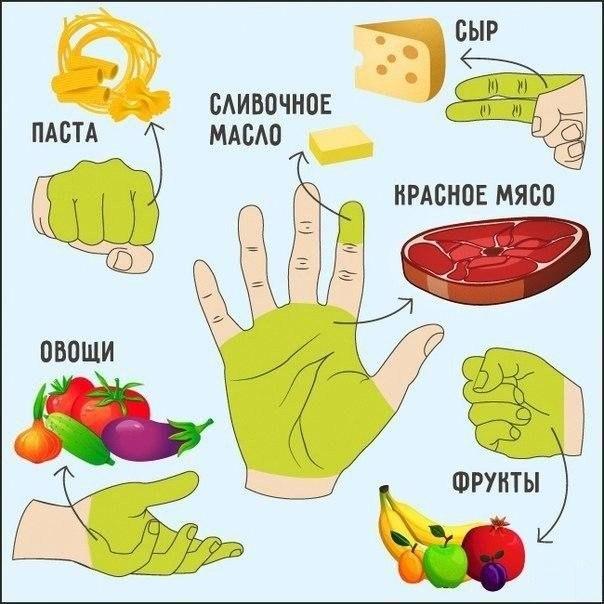 Определение количества порции продуктов по руке