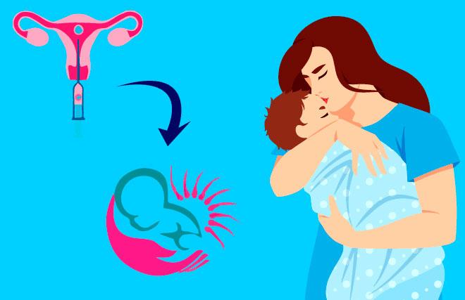 женщина держит на руках своего новорожденного ребенка после эко
