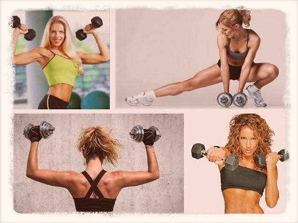 Разновидности упражнений с гантелями