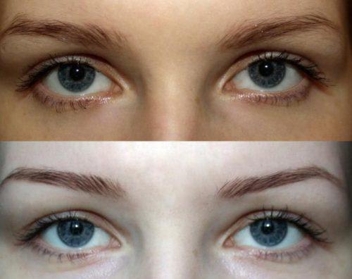 До и после теней для бровей