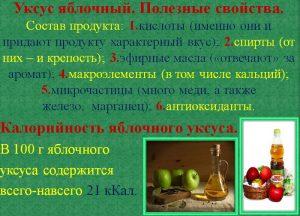 Состав и калорийность яблочного уксуса