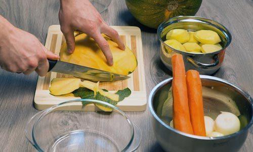Приготовление супа из тыквы