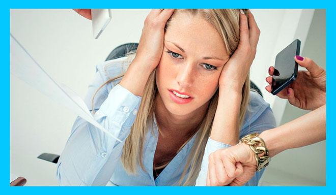 женщину нагружают на работе и у нее стресс
