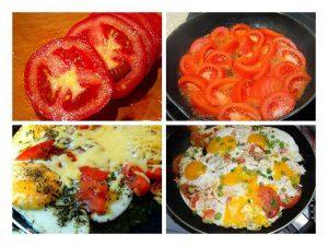 Приготовление яичницы с помидорами