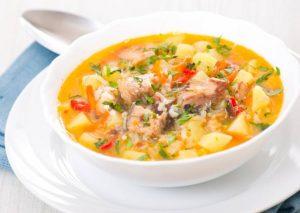 Суп с минтаем, овощами и рисом
