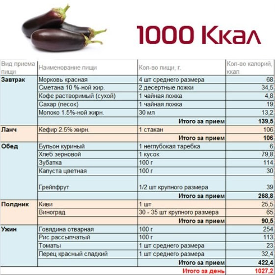 Примерное меню на 1000 ккал в день
