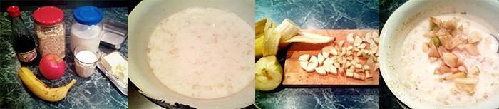 Приготовление овсянки с фруктами