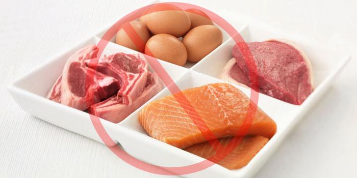 Запрещены мясо, яйца, рыба